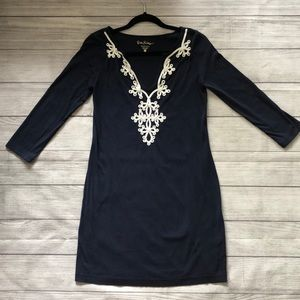 [Lilly Pulitzer] Navy Blue Dress With White Detail